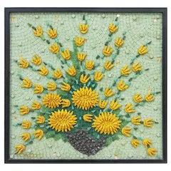 Genaro Alvarez Mexican Mid-Century Modern Floral Still Life Mosaic