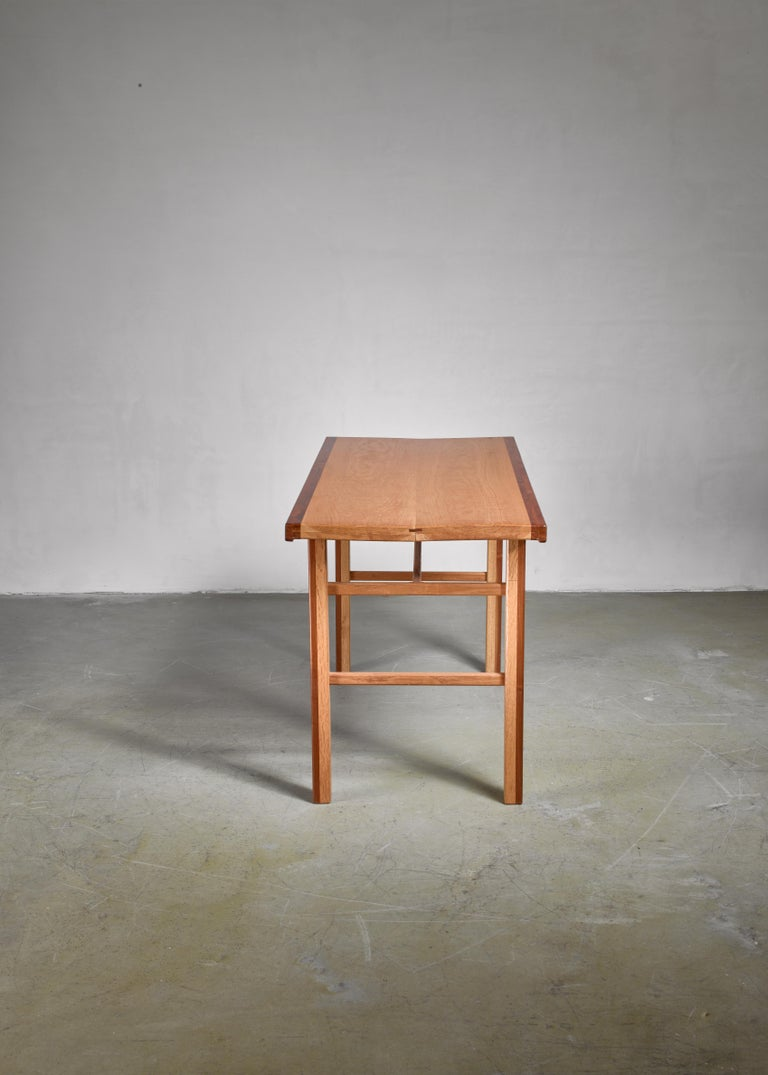 American Gene Caples Walnut and Oak console Table, USA, 1960s For Sale