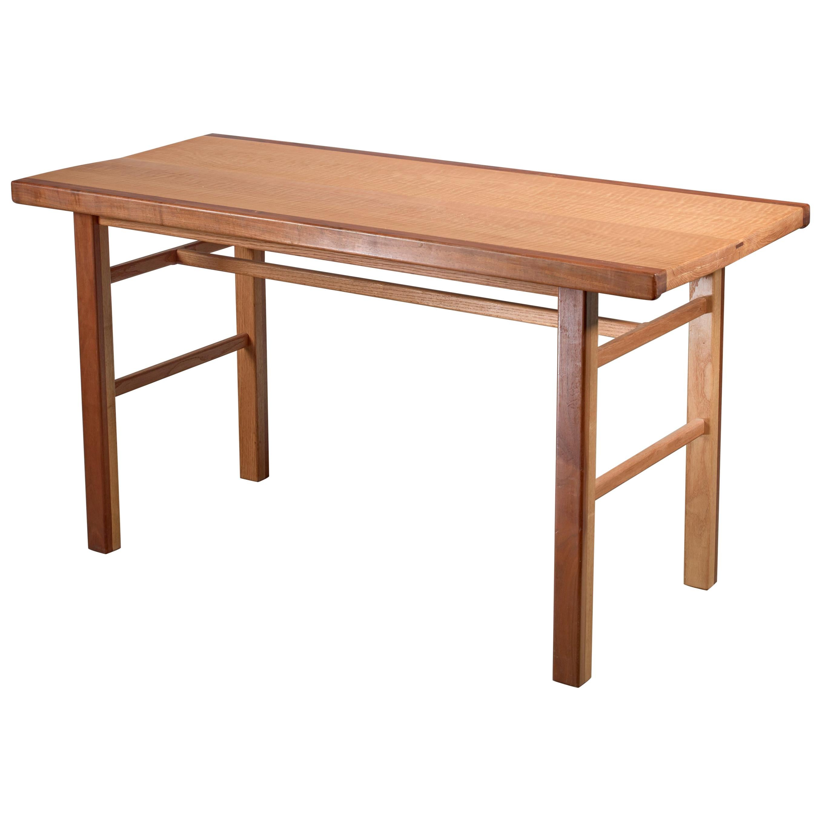 Gene Caples Walnut and Oak console Table, USA, 1960s
