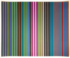 Bullet Proof Gene Davis color field 1960s multicolor abstract stripe print