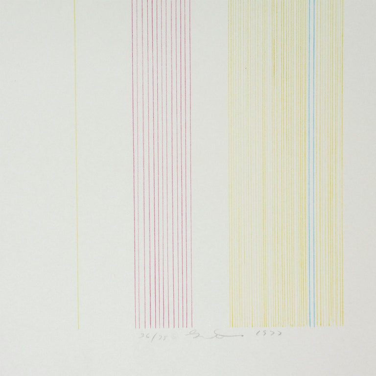 Ferris Wheel: abstract modern minimalist color field drawing with rainbow colors - Abstract Print by Gene Davis