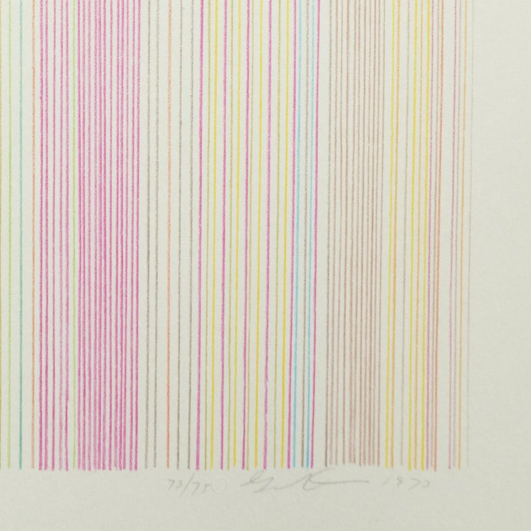 Witch Doctor: abstract modern minimalist color field drawing with rainbow colors - Beige Abstract Print by Gene Davis