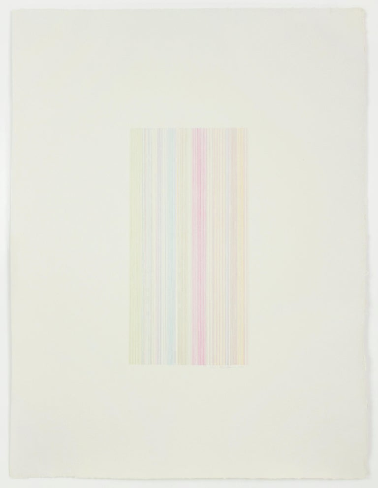Gene Davis Abstract Print - Witch Doctor: abstract modern minimalist color field drawing with rainbow colors