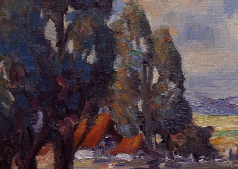 California Ranch - Gray Landscape Painting by Gene Kloss