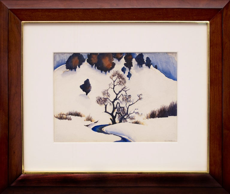 Untitled (Snowy Mountain and Stream) - Painting by Gene Kloss