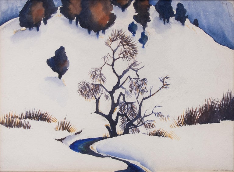 Gene Kloss Landscape Painting - Untitled (Snowy Mountain and Stream)