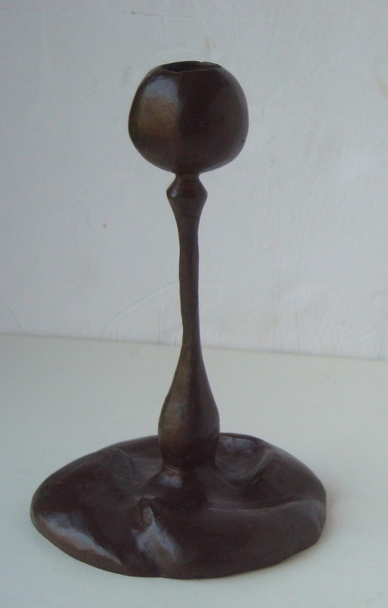 Cast Gene Summers 2B/ 6 Candlestick, Sculpture Bronze, with Brown Patina, Signed GRS For Sale