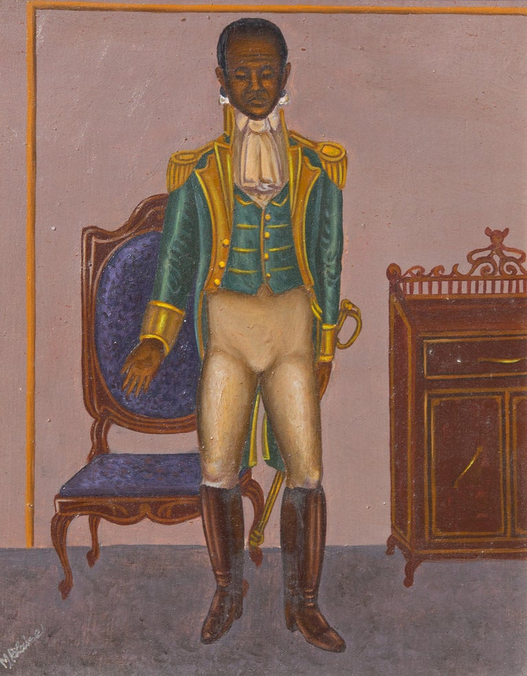 Hattian folk art painting of General Toussain by Serge Moleon Blaise. Oil on board. signed lower left. Nicely framed.   Serge Moleon Blaise was born in Cap Haitian in 1954. The oldest of the famed Blaise brothers, Serge Moleon has also