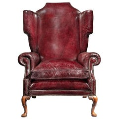 Generous Leather Wing Armchair