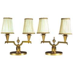 Genet et Michon Pair of Gilt Bronze Lamps