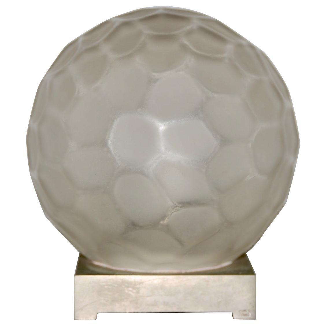 Genet & Michon 'France' Art Deco Glass Globe Table Lamp, circa 1920s