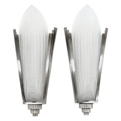Genet & Michon Large French Art Deco Pair of Wall Sconces, 1920s