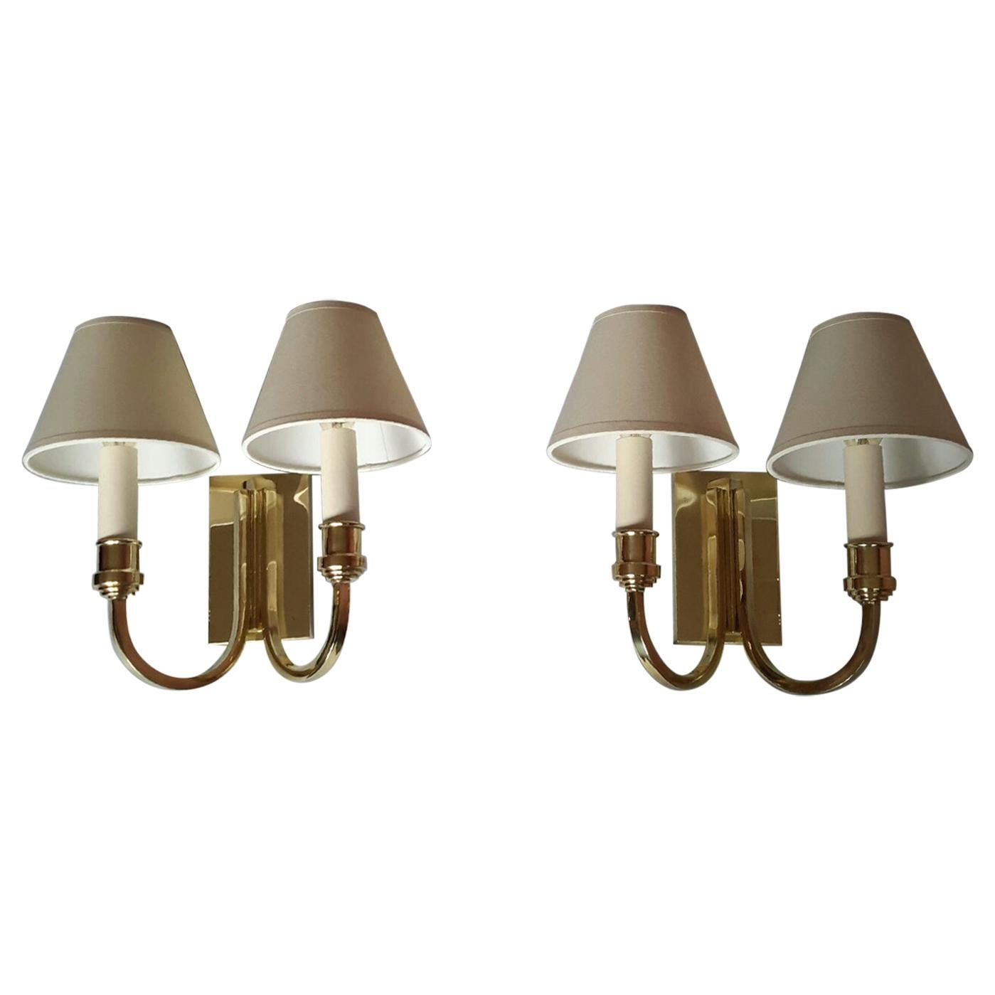 Genet Michon Neoclassical Pair of Gilt Bronze Wall Sconces, France, 1950