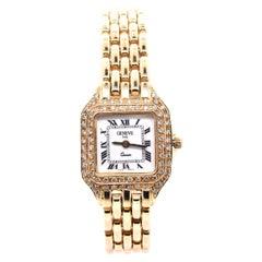 Geneve 14 Karat Yellow Gold Diamond Ladies Watch