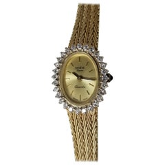 Geneve 14 Karat Yellow Gold Swiss Diamond Watch with Mesh Band