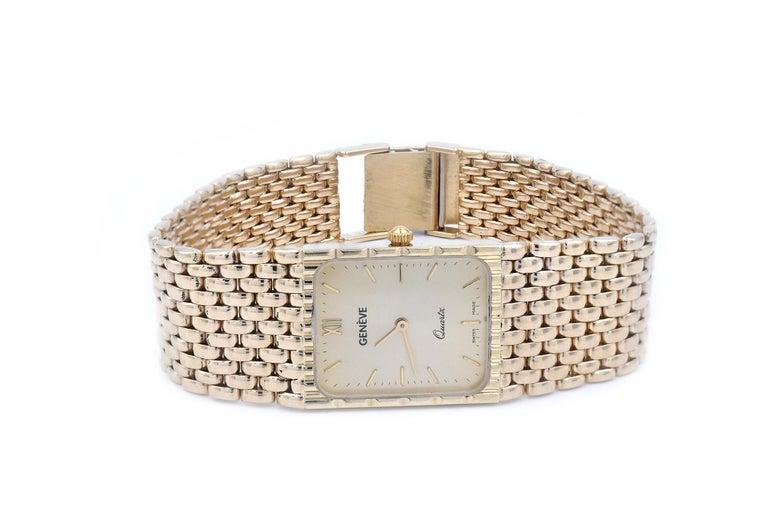 Geneve 14 Karat Yellow Gold Quartz Watch In Excellent Condition For Sale In Scottsdale, AZ