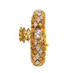 Geneve Diamond and 14 Karat Yellow and White Gold Bracelet Cover Watch