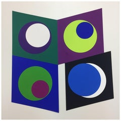 Original Geometric Abstract Gouache on Paper, Geneviève Claisse, Fr. 1969
