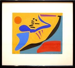 """""""Composition"""" by Geneviéve Claisse, Gouache, 1957"""