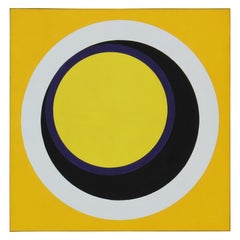 H - Large Yellow Black and White Geometric Abstract