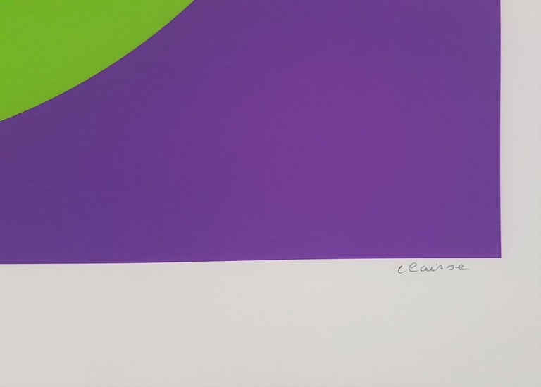 Black and Green Circle (Cercle noir/vert) - Modern Print by Geneviève Claisse