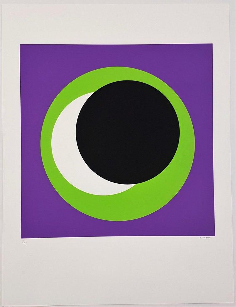 Black and Green Circle (Cercle noir/vert) - Print by Geneviève Claisse