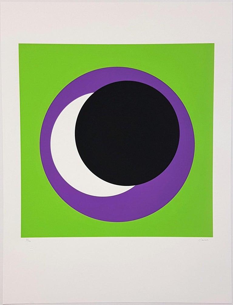 Geneviève Claisse Abstract Print - Black and Purple Circle (Cercle noir/lilas)
