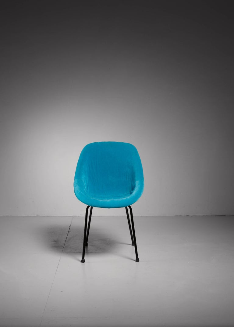 French Genevieve Dangles Blue Chair for Burov, France, 1950s For Sale