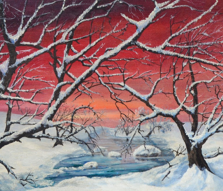 Mid-Century Winter Sunrise Landscape - American Impressionist Painting by Genevieve Idell Booth Clibborn