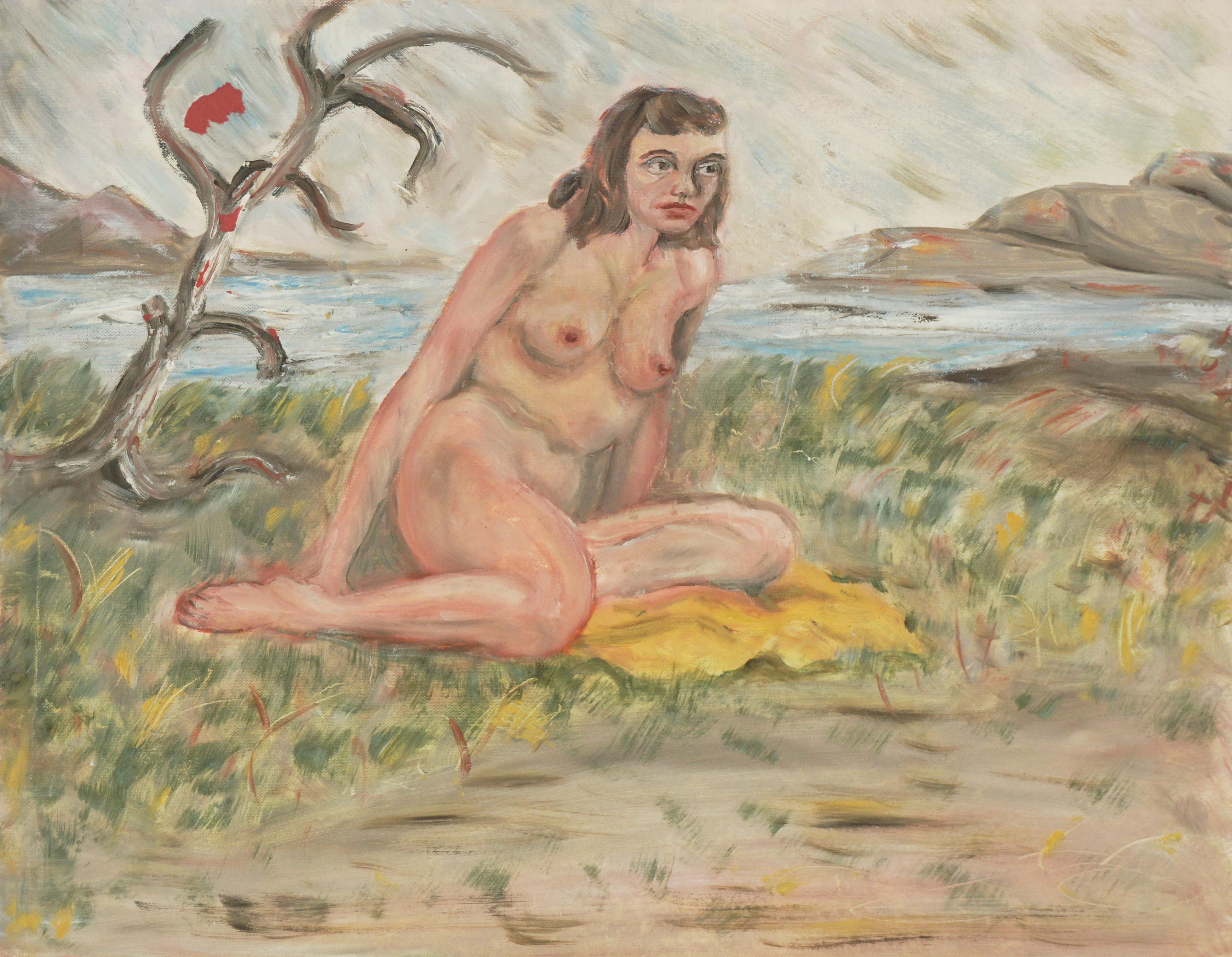 Brunette Nude Study at the Beach
