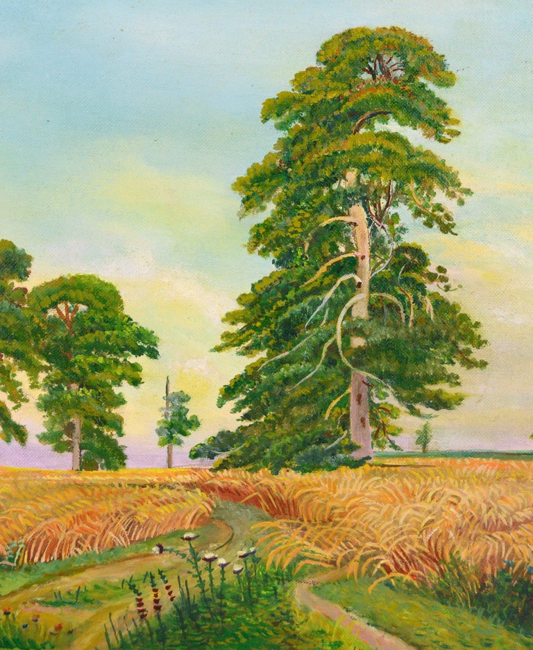 Fields of Wheat Landscape  - American Impressionist Painting by Genevieve Rogers