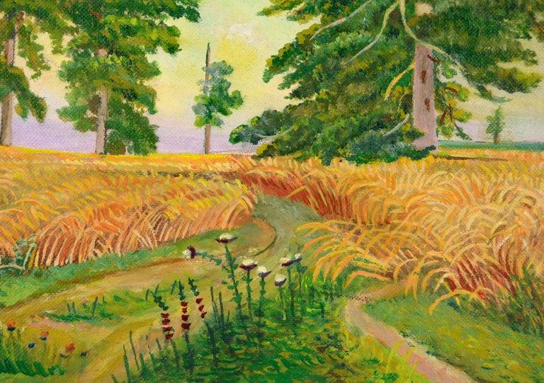 Fields of Wheat Landscape  - Beige Landscape Painting by Genevieve Rogers
