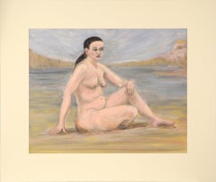 Nude Woman at the Lake Bay Figurative Mid Century