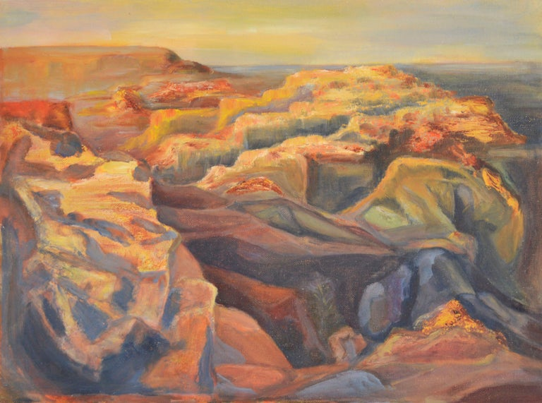 Genevieve Rogers Landscape Painting - Over the Canyons, 1969