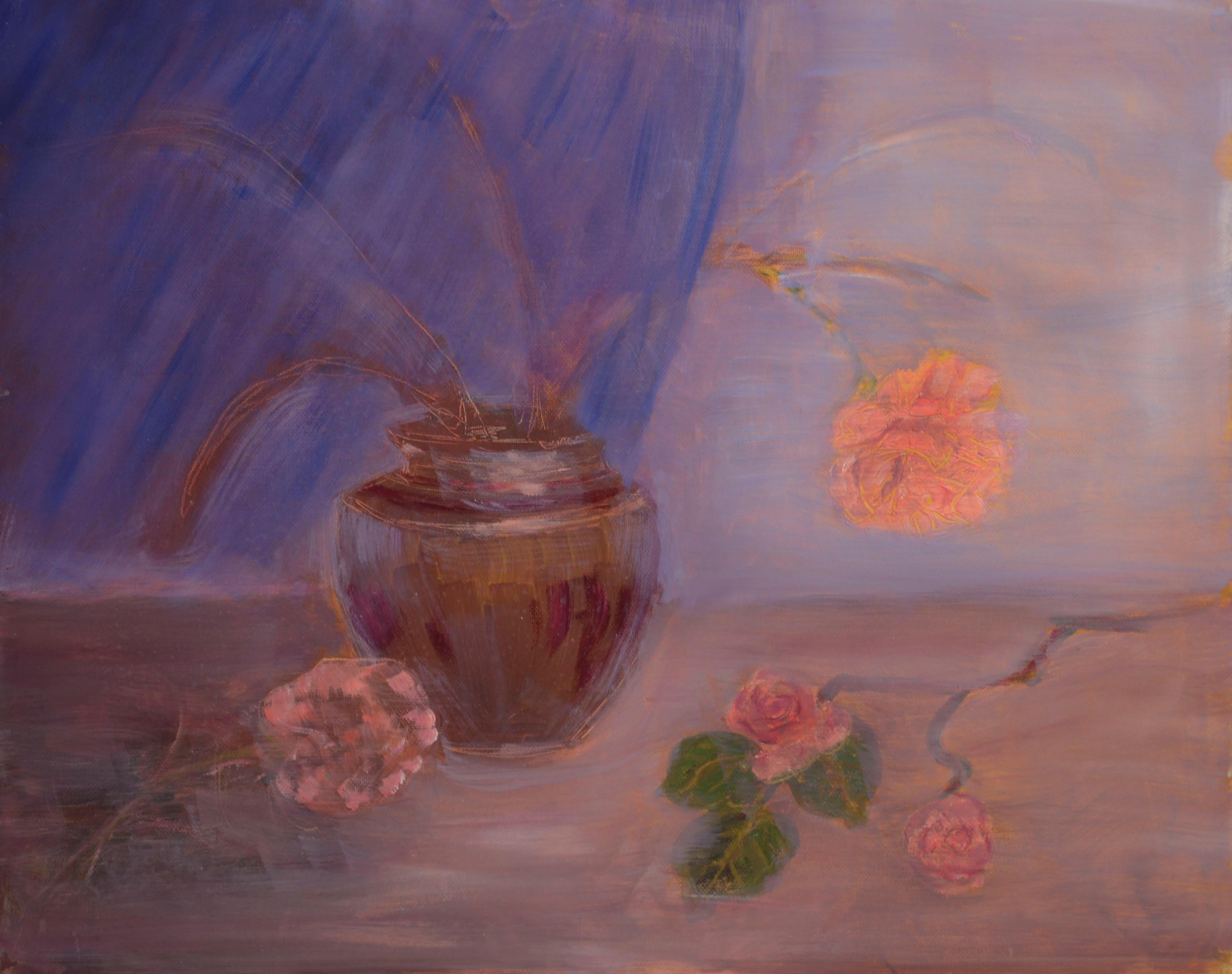 Rose Vase Still Life, American Impressionist