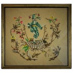 Genie and Rabbit Handwoven Tapestry, circa 1940