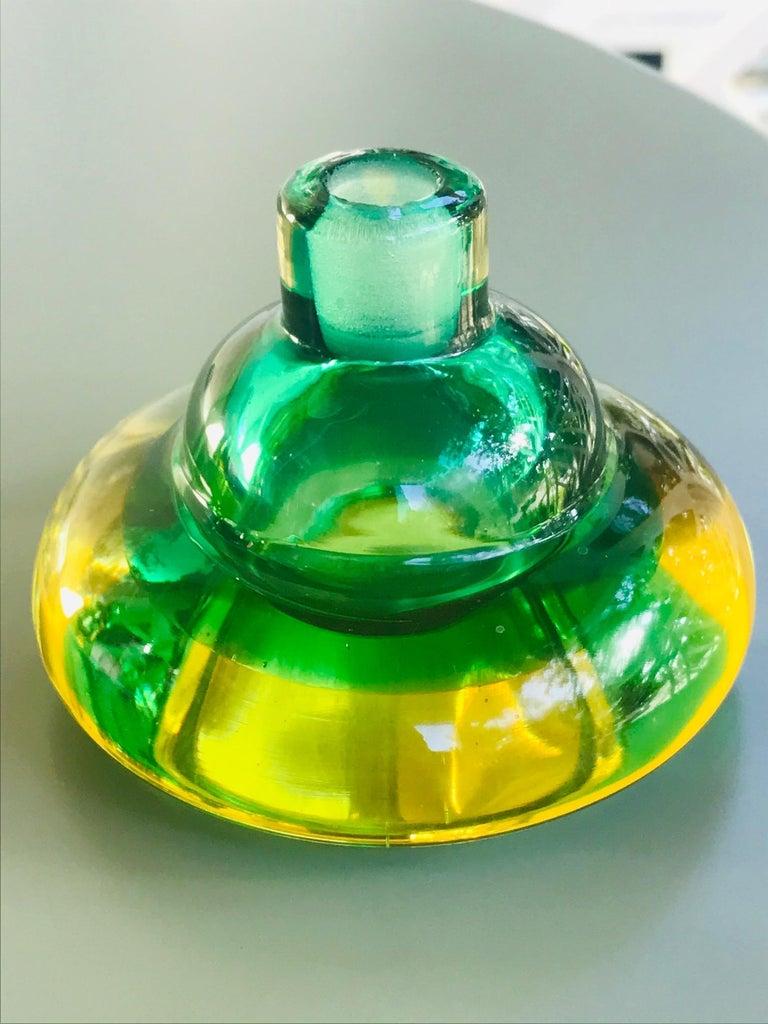 Genie Perfume Bottle in Green and Yellow Murano Glass by Flavio Poli, circa 1960 For Sale 2