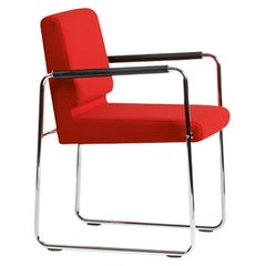 Genio, Swiss Made Red Accent Chair, in Fabric, in Stock