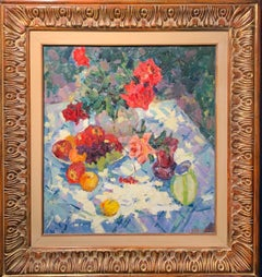 """""""Roses and fruit"""" Oil cm. 63 x 70 1979"""
