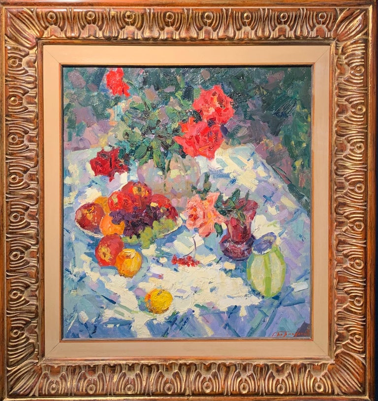 """Gennady Bernadsky Figurative Painting - """"Roses and fruit"""" Oil cm. 63 x 70 1979"""