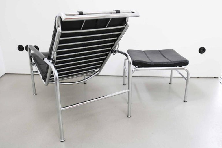 Leather Genni Chaise and Stool by Gabriele Mucchi for Zanotta For Sale
