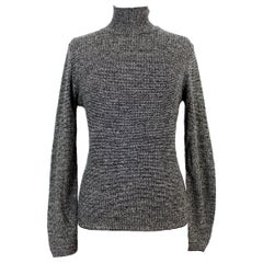 Genny by Gianni Versace Gray Salt Pepper Cashmere Turtleneck Sweater 1980s