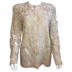 Genny by Gianni Versace Intricate Pearl and Diamond Beaded Cutout Ivory Jacket