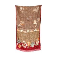 Genny by Gianni Versace Vintage Scarf 1980s Floral Burgundy Wool Silk Fringes