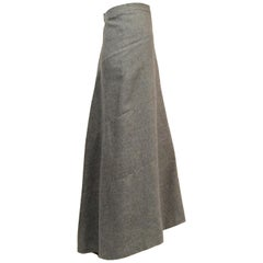 Genny Grey Cashmere Bias Cut Skirt with Train