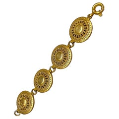 Genny Italy 1990s Satin Gold Etruscan Bracelet