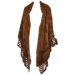 Genny Mink Fur Stole with Suede Laser Cut Trim