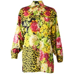 Genny Pure Silk Floral & Animal Print Blouse