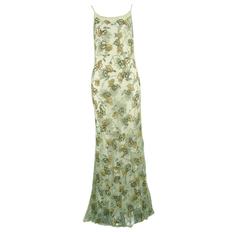 Genny Vintage A/W 1998 Green Heavily Beaded Mesh Runway Backless Maxi Slip Dress