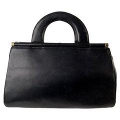 Genny Vintage Black Leather Top Handles Bag Handbag